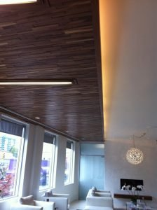 A solid walnut ceiling made from eco friendly building products