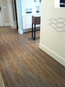 A eco-friendly vinyl floor installed at a business in Vancouver